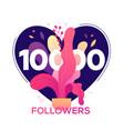 10 000 followers banner - modern flat design style vector image