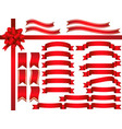 a set of assorted red ribbons vector image