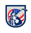 american patriot ice hockey shield vector image vector image