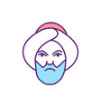 angry muslim man rgb color icon vector image