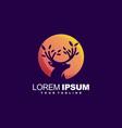 awesome deer leaf logo design vector image vector image