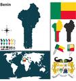 Benin map vector image vector image
