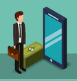 businessman holding briefcase smartphone and vector image vector image