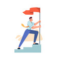 businessman raising flag on top stairs mission vector image