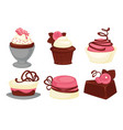 cakes and cupcakes pastry sweet desserts vector image vector image