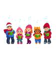 Caroling kids set vector image vector image