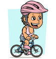 cartoon brunette girl character riding on bicycle vector image vector image