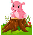 cartoon cute baby hippo on tree stump vector image vector image