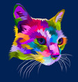 cat head on geometric pop art style vector image vector image