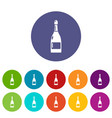 champagne icons set color vector image vector image