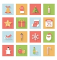 Christmas and New Year flat icons set with shadows vector image vector image