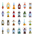 color icons set with lantern vector image vector image