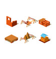 construction buildings and wall structures vector image