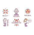 cosmetic salon labels set natural beauty badges vector image vector image