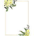 decorative golden rectangular frame with green vector image vector image