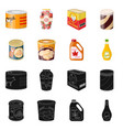 design of can and food symbol set of can vector image vector image