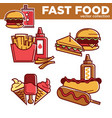 fast food burgers sandwiches snacks and meals vector image vector image
