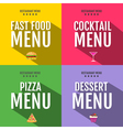 Flat fast food menu typography design vector image