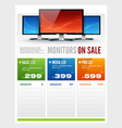 flat lcd monitor display sale brochure vector image vector image