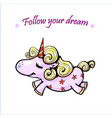 good night cute unicorn sleeping and rainbow vector image
