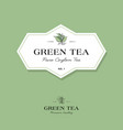green elite tea logo label leaves classic style vector image