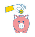 hand with piggy savings vector image vector image