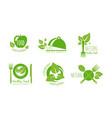 healthy natural product logos set eco organic vector image vector image