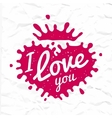I love you lettering in heart shape splash vector image