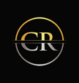 initial gold and silver color cr letter logo vector image vector image