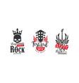 legendary rock fest logo templates set heavy rock vector image vector image