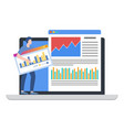 man stand on laptop with infographic marketing vector image vector image