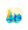 man walks with a dog with a mask on his face vector image