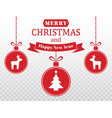 merry christmas card set of red hanging xmas vector image vector image