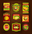 Mexican Food Bright Colorful Emblems vector image vector image