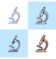 microscope icon set in flat and line styles vector image vector image