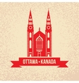Notre Dame Cathedral in Ottawa vintage vector image