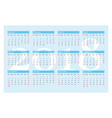 pocket calendar for 2018 year on blue vector image vector image