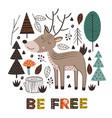 poster deer in forest scandinavian style vector image vector image