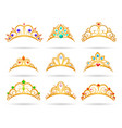 princess golden tiaras with diamonds vector image vector image