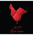 Red Rooster in Origami Style icon 2017 new vector image vector image