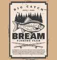 retro fishing club bream fish and rods tentacles vector image vector image