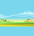 rural landscape with fields and herd cows vector image