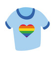 shirt with heart gay pride hand draw style vector image vector image