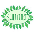 summer sign with leaves around oval frame vector image vector image