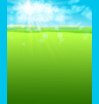 summer warm background with sun and green field of vector image