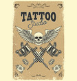 tattoo studio poster template winged skull with vector image vector image