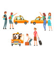 taxi service set city transportation clients vector image vector image