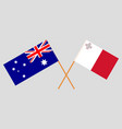 the australian and maltese flags vector image vector image