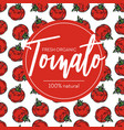 tomato seamless pattern and emblem ripe organic vector image vector image