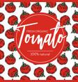 tomato seamless pattern and emblem ripe organic vector image